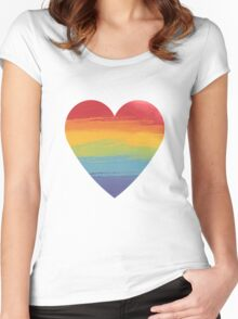 Rainbow Watercolour Heart Women's Fitted Scoop T-Shirt