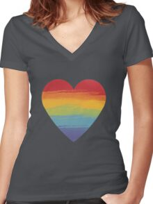 Rainbow Watercolour Heart Women's Fitted V-Neck T-Shirt