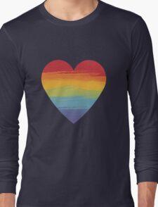 Rainbow Watercolour Heart Long Sleeve T-Shirt