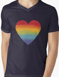 Rainbow Watercolour Heart Mens V-Neck T-Shirt