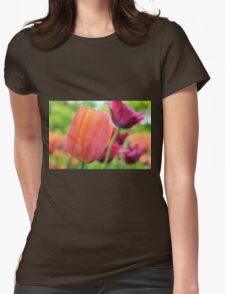Orange and Red Violet Tulips Womens Fitted T-Shirt