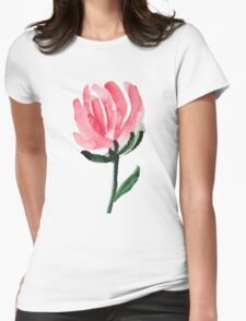 Watercolor Tulip Flower Womens Fitted T-Shirt