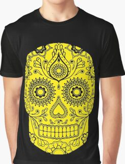 Mexican Death Skull, Yellow, day of the dead Graphic T-Shirt