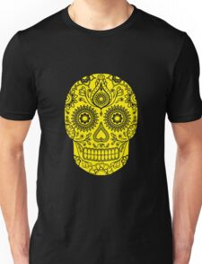 Mexican Death Skull, Yellow, day of the dead Unisex T-Shirt