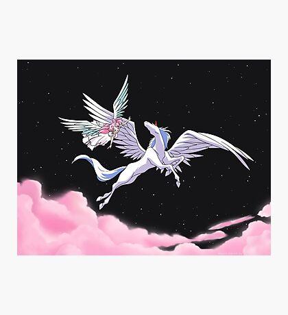 Pegasus winged unicorn - sailor cartoon Photographic Print