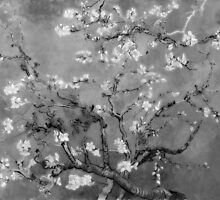 Vincent Van Gogh - Almond Blossoms (Black and White) by lifetree