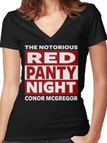 Conor Mcgregor, Red Panty Night Women's Fitted V-Neck T-Shirt