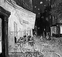 Vincent Van Gogh - Cafe Terrace at Arles (Black and White) by lifetree