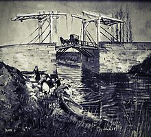 Vincent Van Gogh - Drawbridge at Arles 2 (Black and White) by lifetree