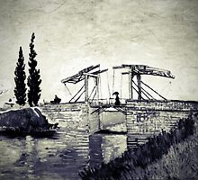 Vincent Van Gogh - Drawbridge at Arles  (Black and White) by lifetree