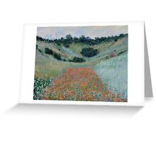 Claude Monet - Poppy Field in a Hollow near Giverny , Impressionism Greeting Card