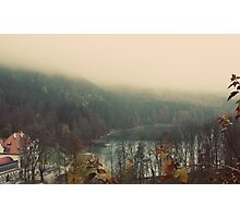 Mystical Fog Mountain Forest Lake Germany Photographic Print