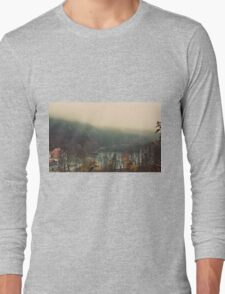 Mystical Fog Mountain Forest Lake Germany Long Sleeve T-Shirt