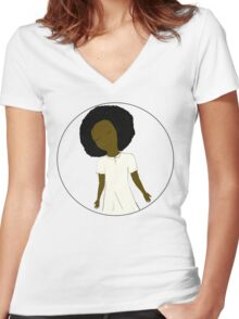 "African American Girl from the ""Five Birds on a Wire"" book (Kids & Baby Tees+Onesies) Women's Fitted V-Neck T-Shirt"