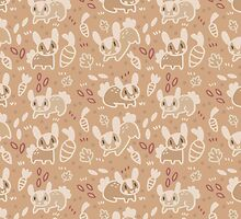 Light Brown Bunny Rabbit Pattern by Claire Stamper