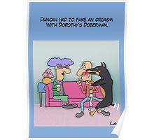 Funny Doberman Dog Dating Cartoon Poster