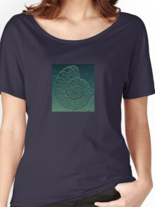 Geology Theme Ammonite in Blue-green and Grey Women's Relaxed Fit T-Shirt