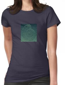 Geology Theme Ammonite in Blue-green and Grey Womens Fitted T-Shirt