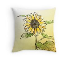 Hand drawn sunflower Throw Pillow