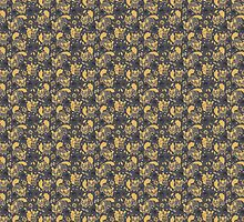 Gold and Black Squirrels Pattern by Claire Stamper
