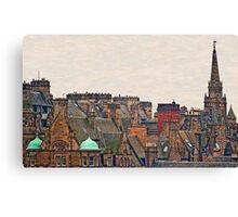 Scotland - Edinburgh, roofs and chimneys Canvas Print