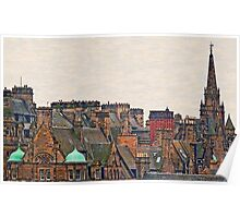 Scotland - Edinburgh, roofs and chimneys Poster