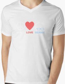Peace, Love, Bernie Mens V-Neck T-Shirt