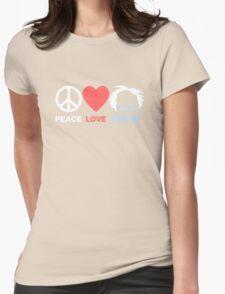 Peace, Love, Bernie Womens Fitted T-Shirt