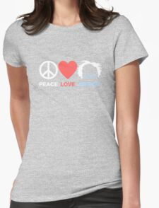 Peace, Love, Bernie Womens Fitted T-Shirt