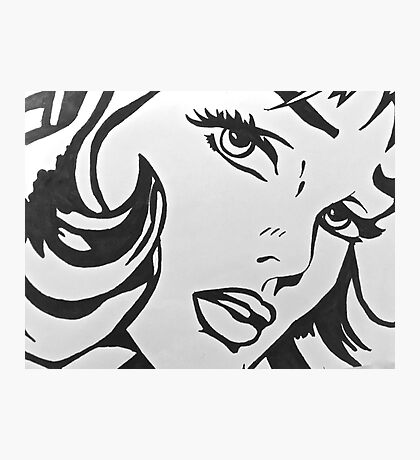 black and white girl  Photographic Print