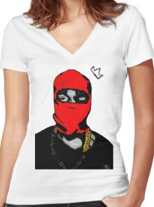 Red Ye (Masked) Women's Fitted V-Neck T-Shirt
