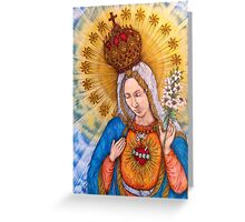 Immaculate Heart Of Virgin Mary Drawing Greeting Card