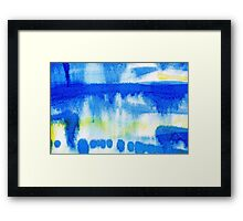 Blue Ink Abstract Painting Framed Print