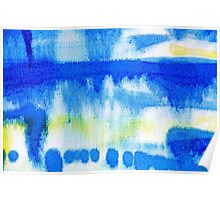 Blue Ink Abstract Painting Poster