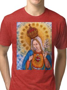 Immaculate Heart Of Virgin Mary Drawing Tri-blend T-Shirt