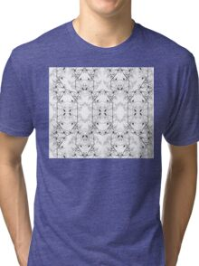 White and Black Abstract Pattern Tri-blend T-Shirt