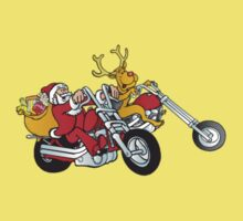 Santa and his reindeer is coming to town on their motorcycle's One Piece - Short Sleeve
