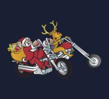 Santa and his reindeer is coming to town on their motorcycle's Kids Tee