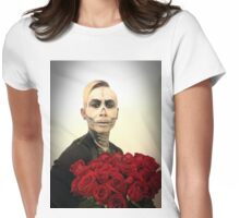Halloween Skull Tux And Roses Womens Fitted T-Shirt
