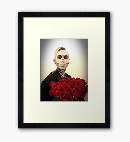 Halloween Skull Tux And Roses Framed Print