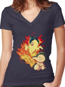 Cyndaquil Typhlosion Women's Fitted V-Neck T-Shirt