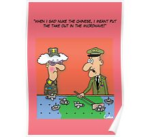 Funny Military War Games Cartoon Poster