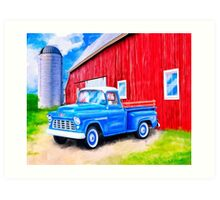 On The Farm - Red Barn And 1955 Chevy Truck Art Print
