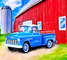 On The Farm - Red Barn And 1955 Chevy Truck by Mark Tisdale