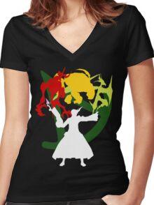 Summoner Egis (White Silhouette) Women's Fitted V-Neck T-Shirt