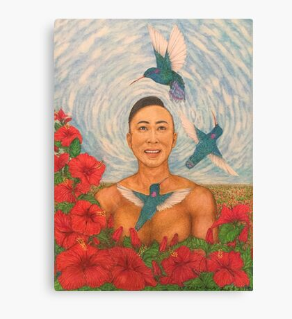 Spring Amazed By The Hummingbirds Drawing Canvas Print