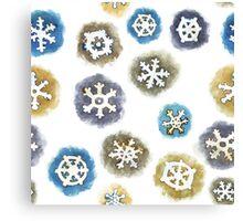 Watercolor Snowflakes Pattern Canvas Print