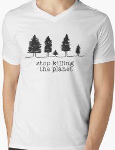 'Stop Killing The Planet' Sketch Print Mens V-Neck T-Shirt