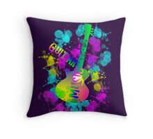 Rainbow Guitar Music Themed Graphic Throw Pillow