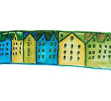 Watercolor houses Photographic Print